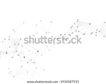 Block chain global network technology concept. Network nodes greyscale plexus background. Future perspective backdrop. Circle nodes and line elements. Global data exchange blockchain vector.