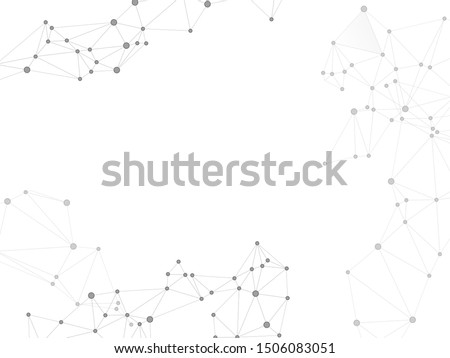 Block chain global network technology concept. Network nodes greyscale plexus background. Global data exchange blockchain vector. Nodes and lines polygonal connections. Molecular biology backdrop.