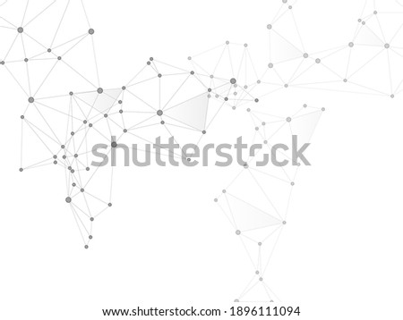 Block chain global network technology concept. Network nodes greyscale plexus background. Global data exchange blockchain vector. Fractal hub nodes connected by lines. Nanotechnology backdrop.