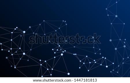 Block chain global network technology concept. Network nodes plexus dark blue background. Global data exchange blockchain vector. Virtual reality polygin design. Nodes and lines polygonal connections.