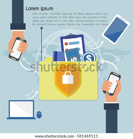 Block chain technology concept. Vector illustration of distributed database for web security