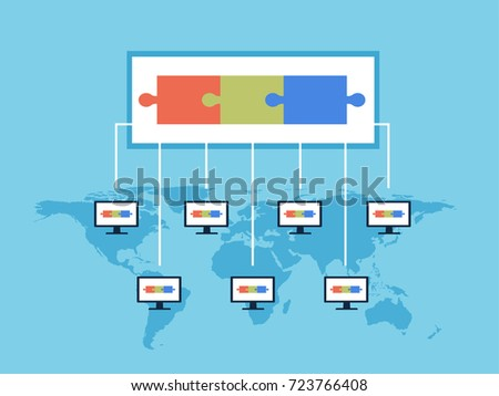 Block Chain Technology vector illustration. Public database of transactions is recorded on computers running on the same network. Crypto currency concept.