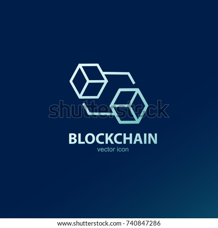Block chain vector outline icon or logo element. design between block to block