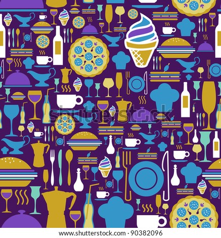 Block colors gourmet icon set seamless pattern background. Vector file available.