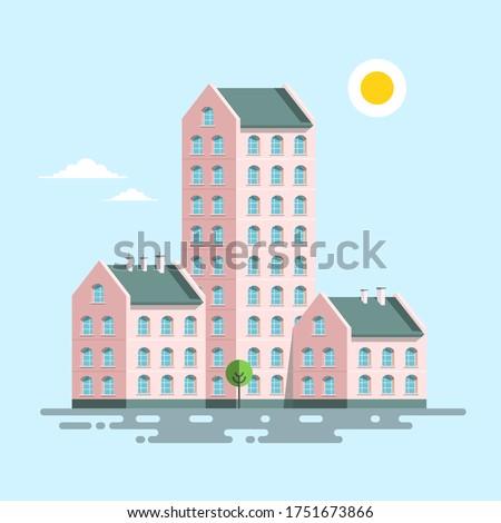 Block of Flats Houses Icon. Vector Apartment Buildings Symbol. Сток-фото ©