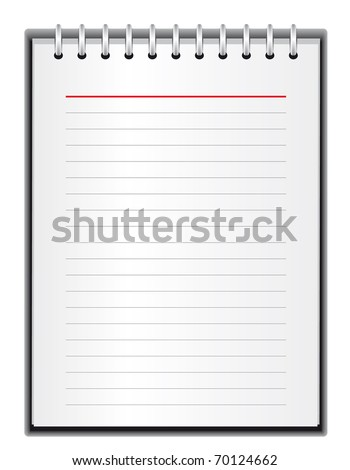 Block of paper for notes. Vector illustration