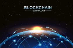 blockchain and bitcoin technology concept vector background. Big data, node, circuit networking above the planet Earth with Sunlight.