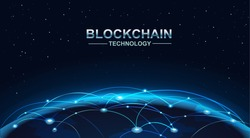 blockchain and bitcoin technology concept vector background. Big data, node, circuit networking above the planet Earth.