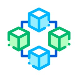 Blockchain Artificial Intelligence Vector Icon Sign Thin Line. Artificial Intelligence Details Cubes In Element Linear Pictogram. Fingerprint, Microchip, Assembly Contour Illustration