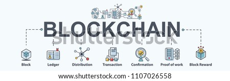 Blockchain banner web icon set. infographic icon, cryptocurrency, diagram, distribution, block, miner, Distribution, Ledger and Transaction. Modern flat vector.