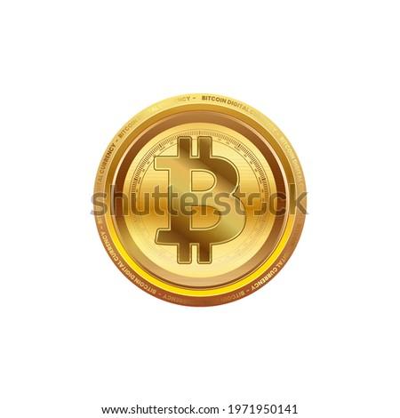 Blockchain bitcoin icon vector. Kripto para birimi bitcoin. Altın sikke bitcoin sembolü. Beyaz arka plan üzerinde gerçekçi vektör illüstrasyonu. Stok fotoğraf ©