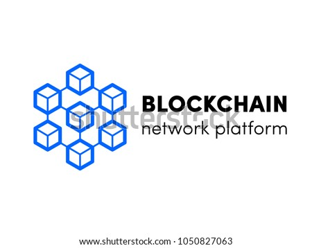 Blockchain, cloud server or hosting logo. Vector block chain network isometric template design for cryptocurency bitcoin, ethereum mining cloud servers