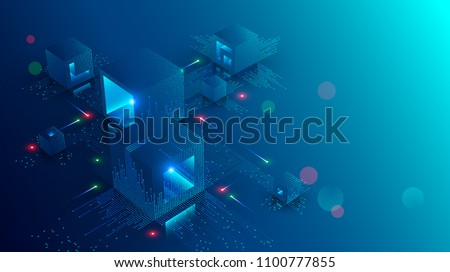 Blockchain concept banner. Isometric digital blocks connection with each other and shapes crypto chain. Blocks or cubes, connection consists digits. Abstract technology background. Vector illustration
