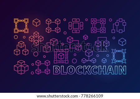 Blockchain concept colorful horizontal illustration. Vector block chain computer technology banner in linear style on dark background