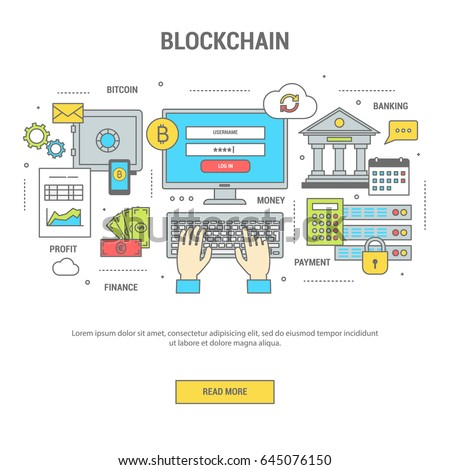 Blockchain concept finance banner flat design line art. Set of icons of banking and payment by bitcoins, exchange of money. Vector illustration for web site, application and print