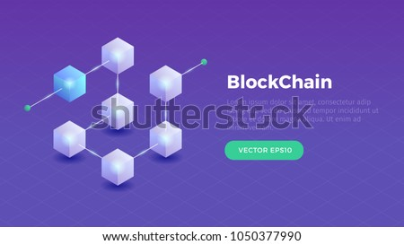 Blockchain concept slider banner design with isometric blocks chain illustration and text vector illustration