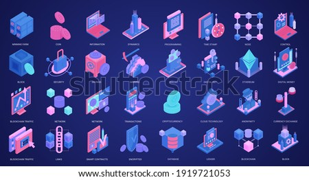 Blockchain crypto currency isometric vector illustration set. 3d icons with mining farm database, digital wallet protection for cryptocurrency money transaction, private data key, startup investment