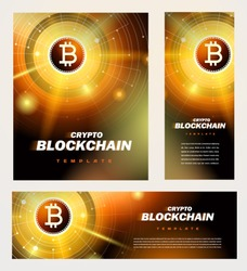 Blockchain cryptocurrency bitcoin finance theme. Set flyer, banner, roll up banner, brochure design template gold color
