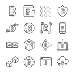Blockchain, Cryptocurrency line icon set. Included the icons as e-wallet, digital, block, money, mobile, Bitcoin and more.