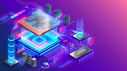 Blockchain cryptocurrency technology isometric concept. Graphic cpu miner mines electronic crypto currency. Banking Blockchain Fintech. CPU processor chip on circuit board generating digital money.