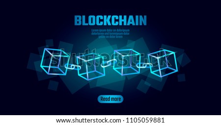 Blockchain cube chain symbol on square code big data flow information. Blue neon glowing modern trend. Cryptocurrency finance bitcoin business concept vector illustration background template