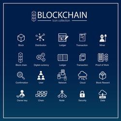 Blockchain icon set. information icon, analytics, cloud computing, blockchain, block, Distribution, Ledger, node, mining pool, Transaction icon