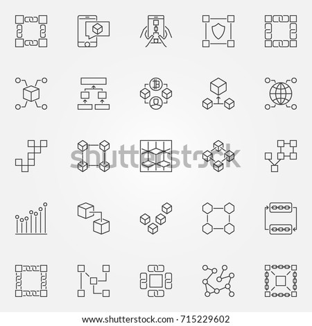 Blockchain icons set. Vector cryptography block chain concept symbols or design elements in thin line style