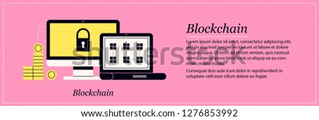Blockchain illustration. Elegant flat style on pink background. Bitcoin, cryptocurrency, online transactions.
