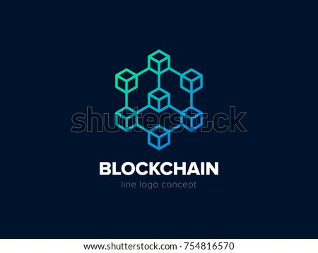 Blockchain line icon logo concept on dark background. Cryptocurrency data sign design. Abstract geometric block chain technology business sign. Vector illustration