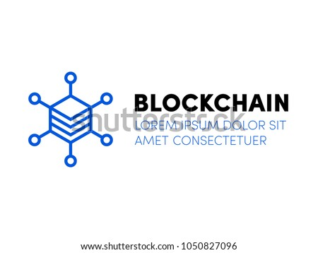 Blockchain logo. Cloud server icon for crypto mining bitcoin, ethereum. Block chain network database logo. Data center or hosting company icon