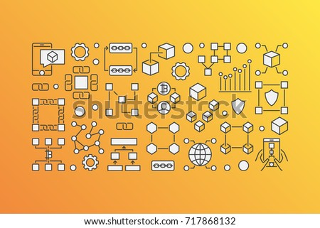 Blockchain modern banner - vector block-chain technology concept illustration on yellow background