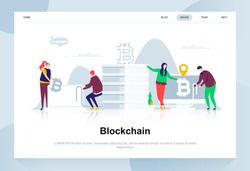 Blockchain modern flat design concept. Cryptocurrency and people concept. Landing page template. Conceptual flat vector illustration for web page, website and mobile website.