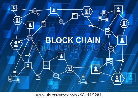 Blockchain network concept , Distributed ledger technology , Miner, key, Security, Block chain text and computer connection with blue digital background