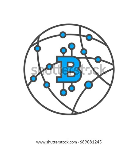 Blockchain network conceptual icon. Distributed ledger technology, business cloud computing, global payment system vector illustration