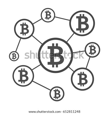 Blockchain network scheme. Nodes connected into chain. Distributed cloud database for secure internet transactions, crypto currency, transfer virtual money via internet. Isolated vector illustration
