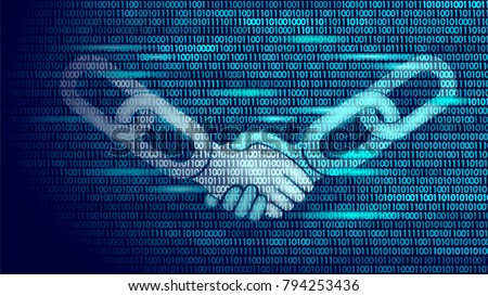 Blockchain technology agreement handshake business concept low poly. Icon sign symbol binary code numbers design. Hands chain link internet hyperlink connection blue vector illustration
