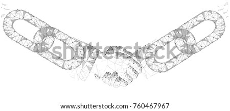 Blockchain technology agreement handshake business concept low poly. Polygonal point line geometric design. Hands chain link internet hyperlink connection gray white vector illustration