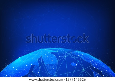 Blockchain technology futuristic hud background with world globe and blockchain polygon peer to peer network. Global cryptocurrency fintech business banner concept. Low poly vector design.