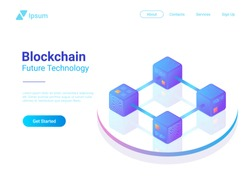 Blockchain Technology Isometric flat vector illustration concept. Hi tech Block chain data structure visualization.