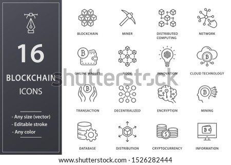Blockchain technology line icons. Set of mining, bitcoin, currency and more. Editable stroke.