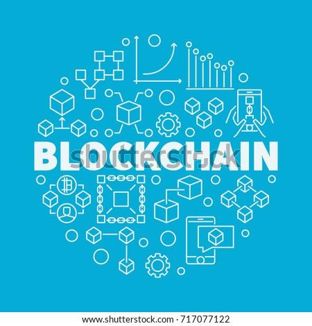 Blockchain technology linear circular vector illustration on blue background