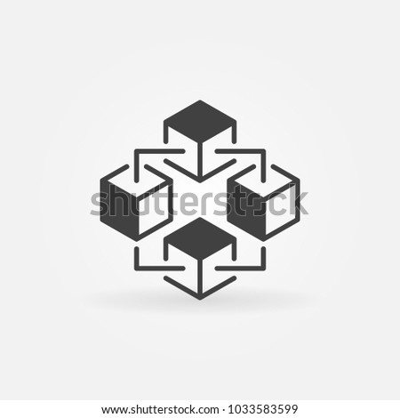 Blockchain technology simple vector icon or design element