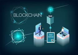 Blockchain technology vector illustration with isometric people, laptop and tablet. Process of digital secure transaction by using smart contract.