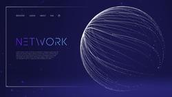 Blockchain transfer satellite future communications vector background. Technology Cloud World. Globe network fintech concept. Blockchain transfer satellite future communications vector background.