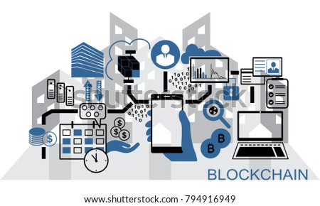 Blockchain vector background illustration with hand holding smartphone and icons. Blockchain concept.