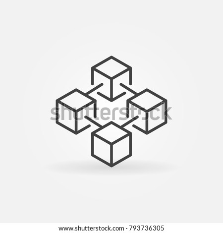 Blockchain vector concept icon or design element in thin line style