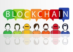 Blockchain vector illustration with text displayed in colorful speech bubbles