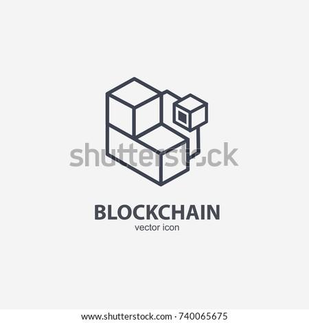 Blockchain vector line icon or logo element on white background