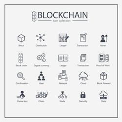 Blockchain web icon set. information icon, analytics, cloud computing, blockchain, block, Distribution, Ledger, Transaction icon