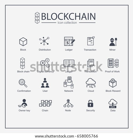 Blockchain web icon set. information icon, analytics, cloud computing, blockchain, block, Distribution, Ledger, Transaction icon